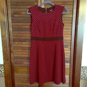 Nine West spot dot black red dress Ponte knit 2